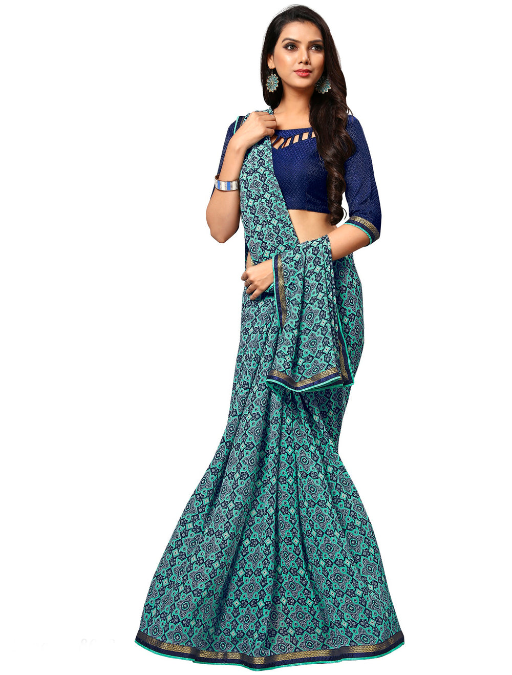 Roop Kashish Women Turquoise Party Wear Georgette Printed Saree With Border And Georgette Blouse Material_RKAM8028