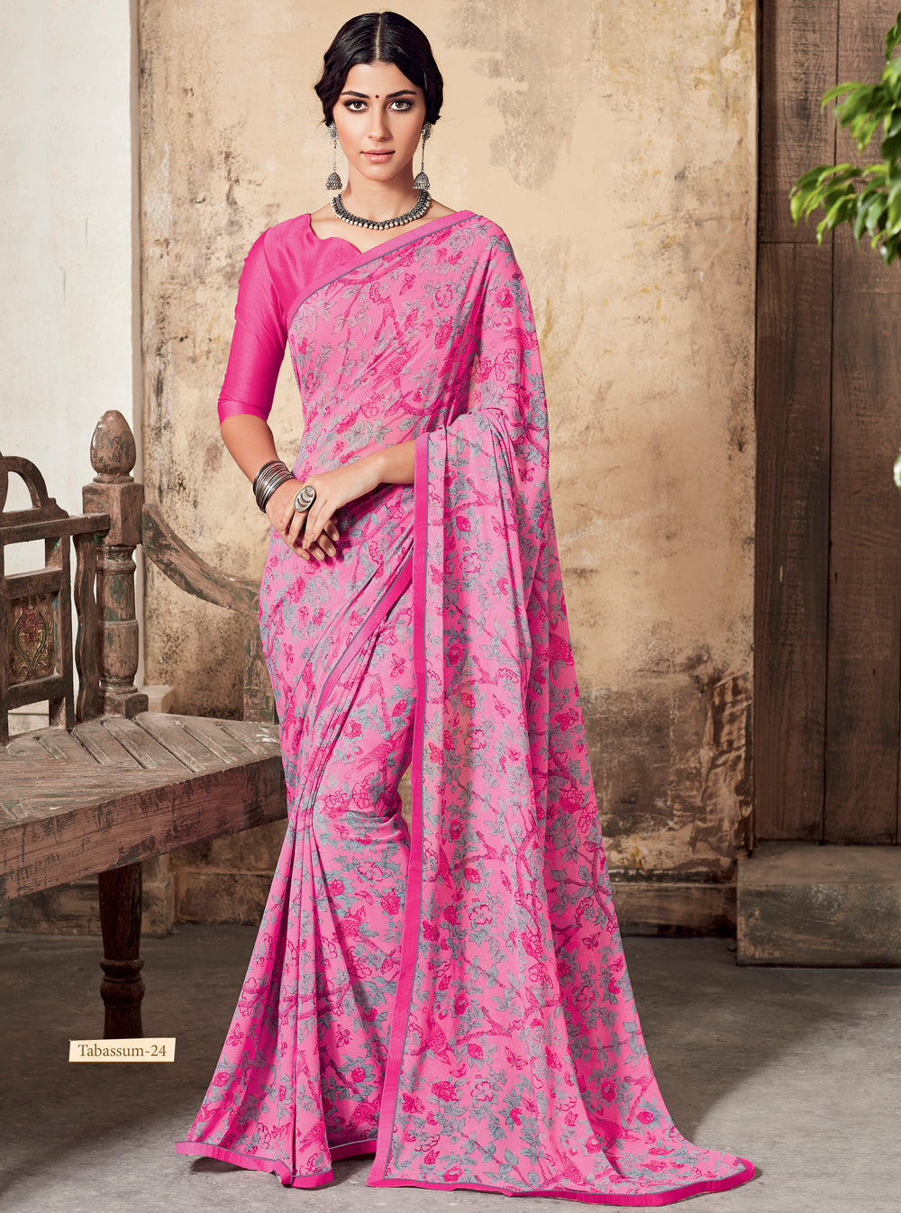 Roop Kashish Women Multi-Coloured Party Wear Georgette Printed Saree With Border And Georgette Blouse Material_RKSCTABASSUM24