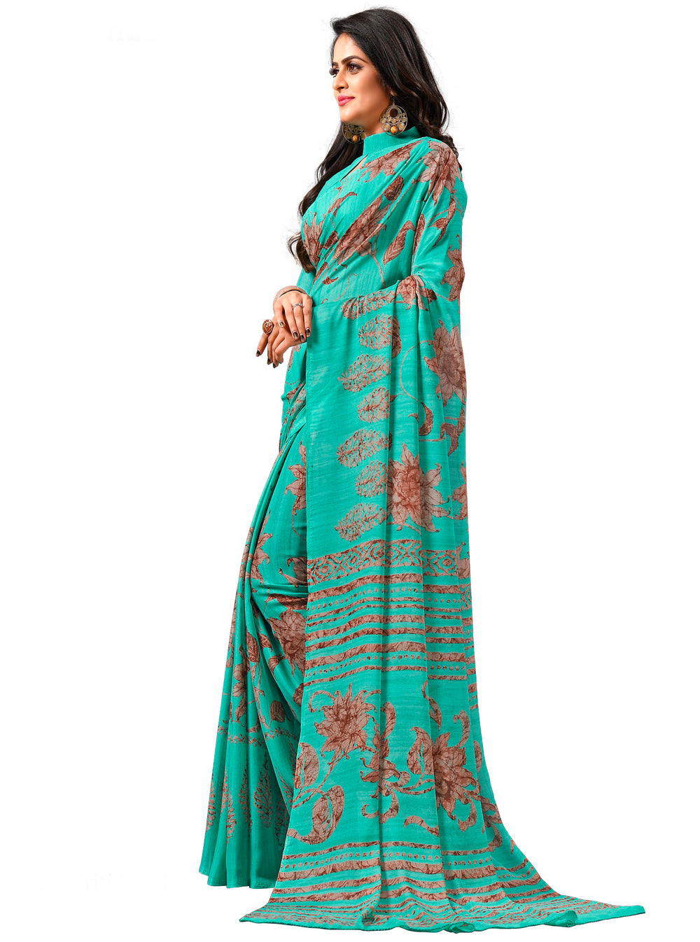 Roop Kashish Women Turquoise Party Wear Georgette Printed Saree And Georgette Blouse Material_RKAM8073