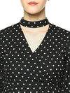 Besiva Women Black & White Polka Dot Print Wrap Top