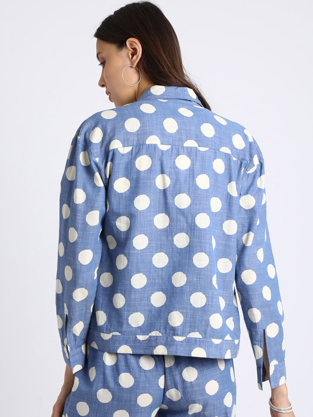 Besiva Women Blue & White Regular Fit Printed Casual Shacket