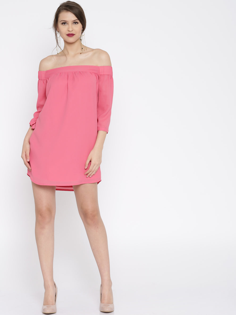 Besiva Women Pink Solid A-Line Dress