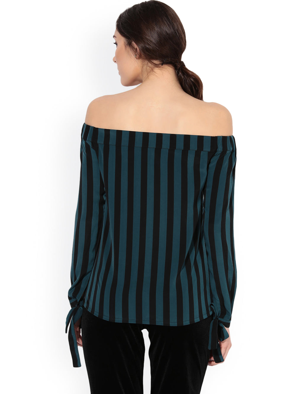 Besiva Women Green Striped Bardot Top