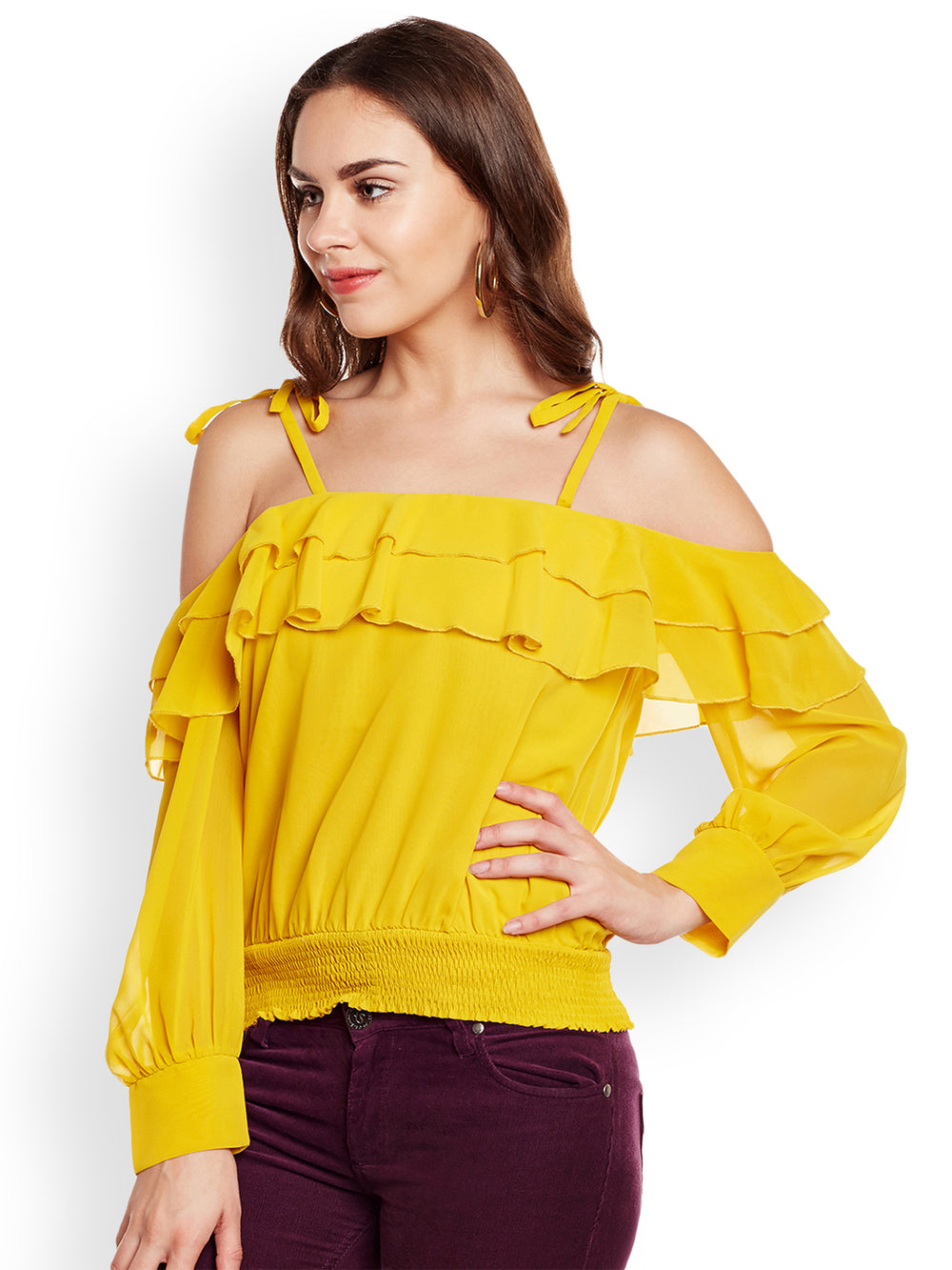 eyelet Women Yellow Solid Top