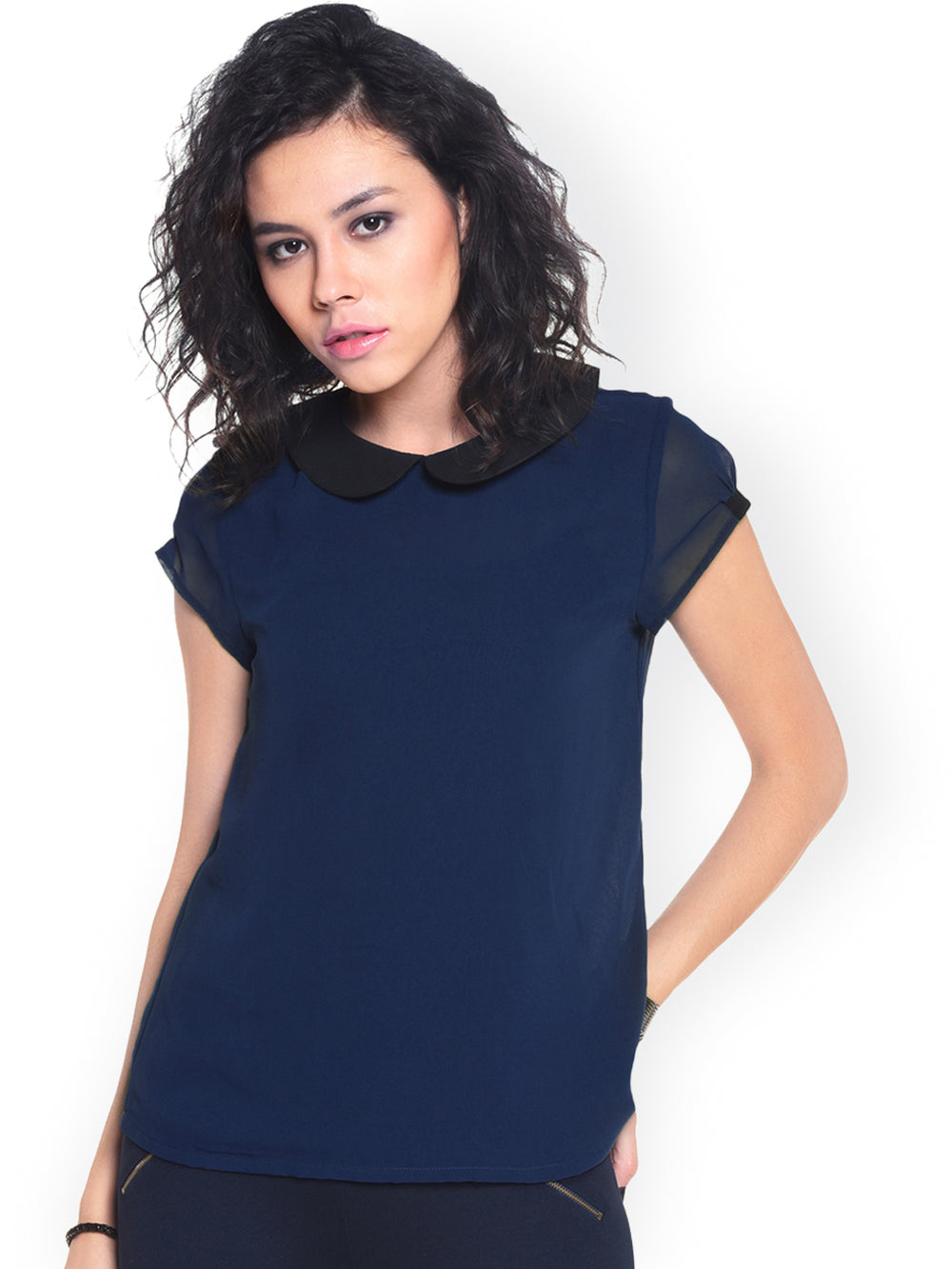 Besiva Navy Top with Sheer Back