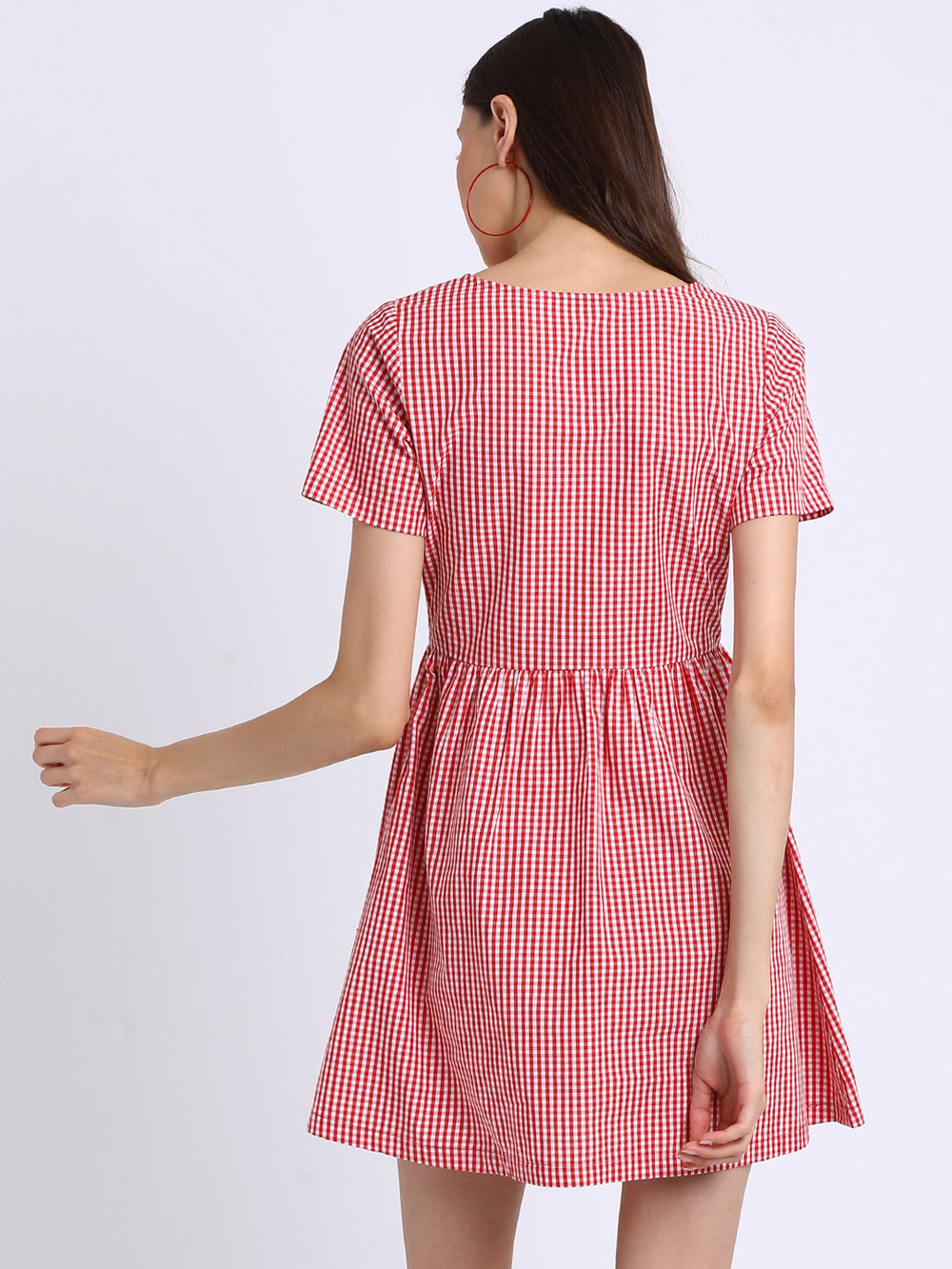 Besiva Women Red & White Checked Fit and Flare Dress