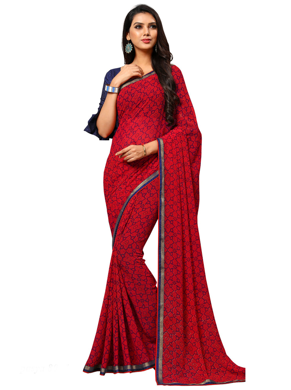 Roop Kashish Women Red Party Wear Georgette Printed Saree With Border And Georgette Blouse Material_RKAM8027