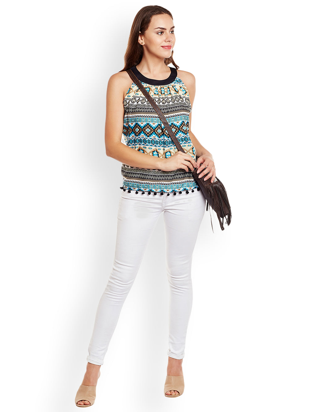 eyelet Women Multicoloured Printed Top
