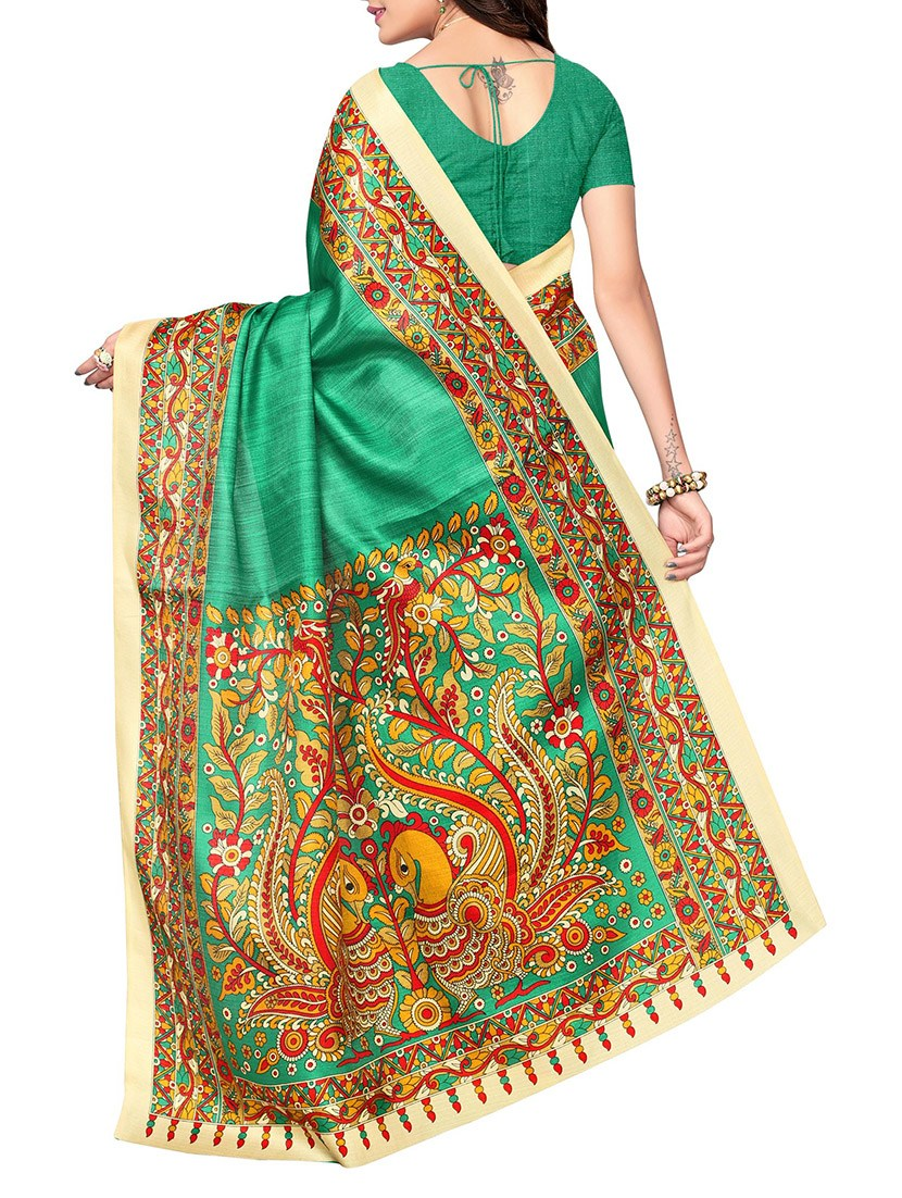 green khadi silk printed saree with blouse
