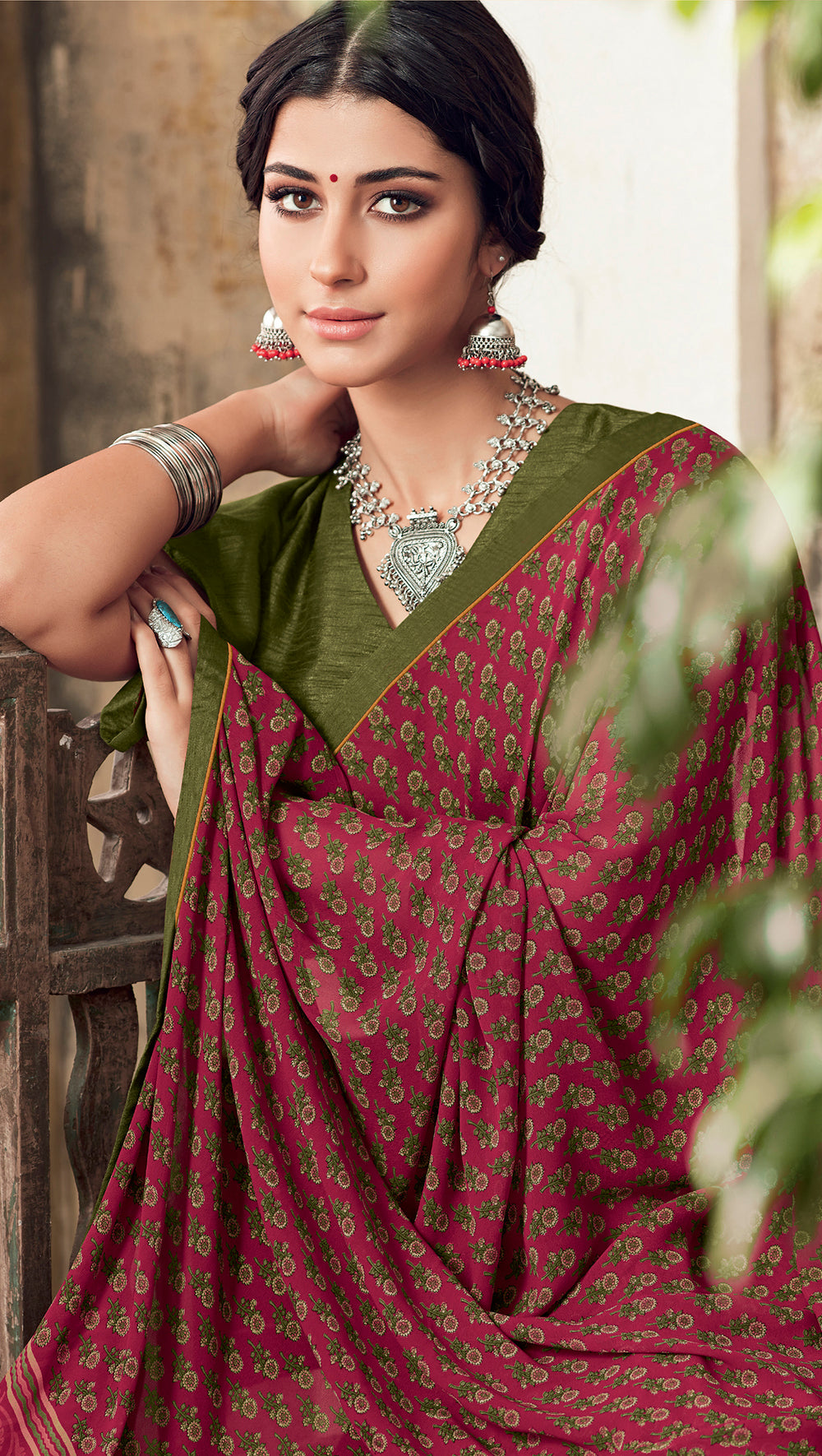 Roop Kashish Women Maroon Party Wear Georgette Printed Saree With Border And Georgette Blouse Material_RKSCTABASSUM26
