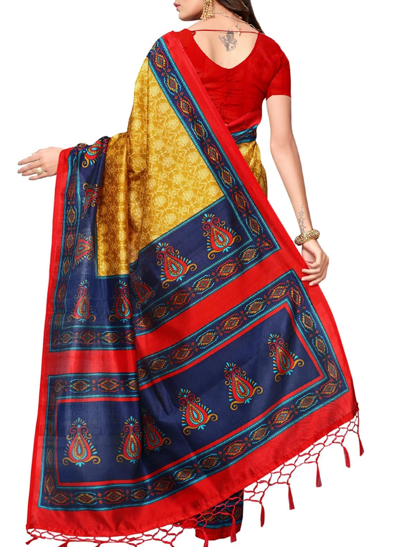 mustard art silk mysore saree with blouse