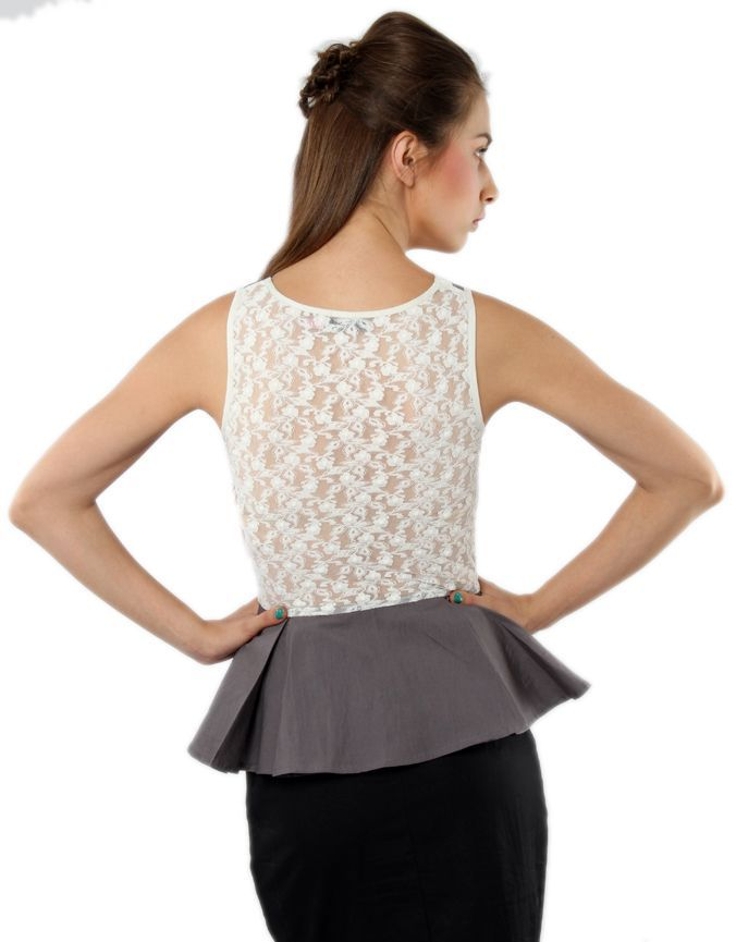 Lace Design Peplum Top