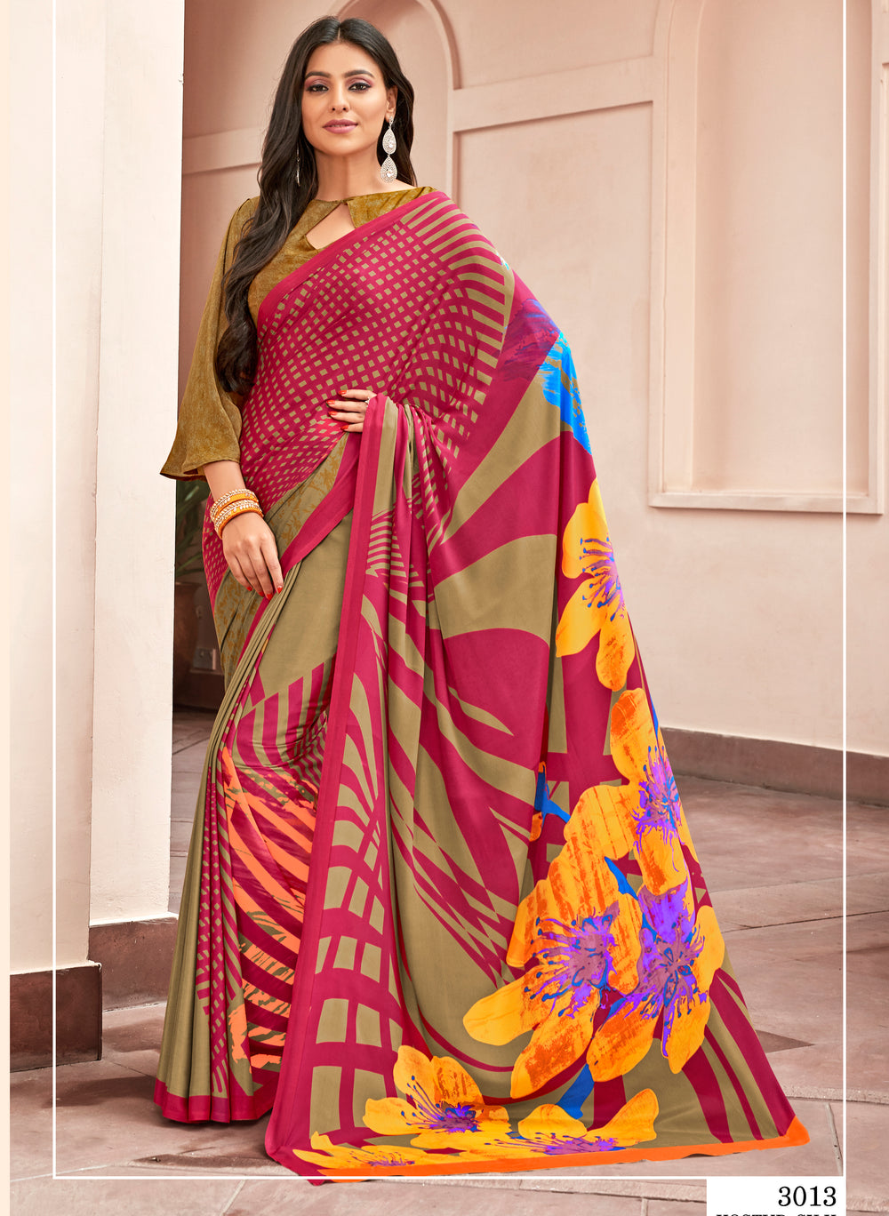 Roop Kashish Women Multi_Coloured  Party Wear Crepe, Satin Printed Saree With Border And Crepe, Satin Blouse Material_RKNKSY3013