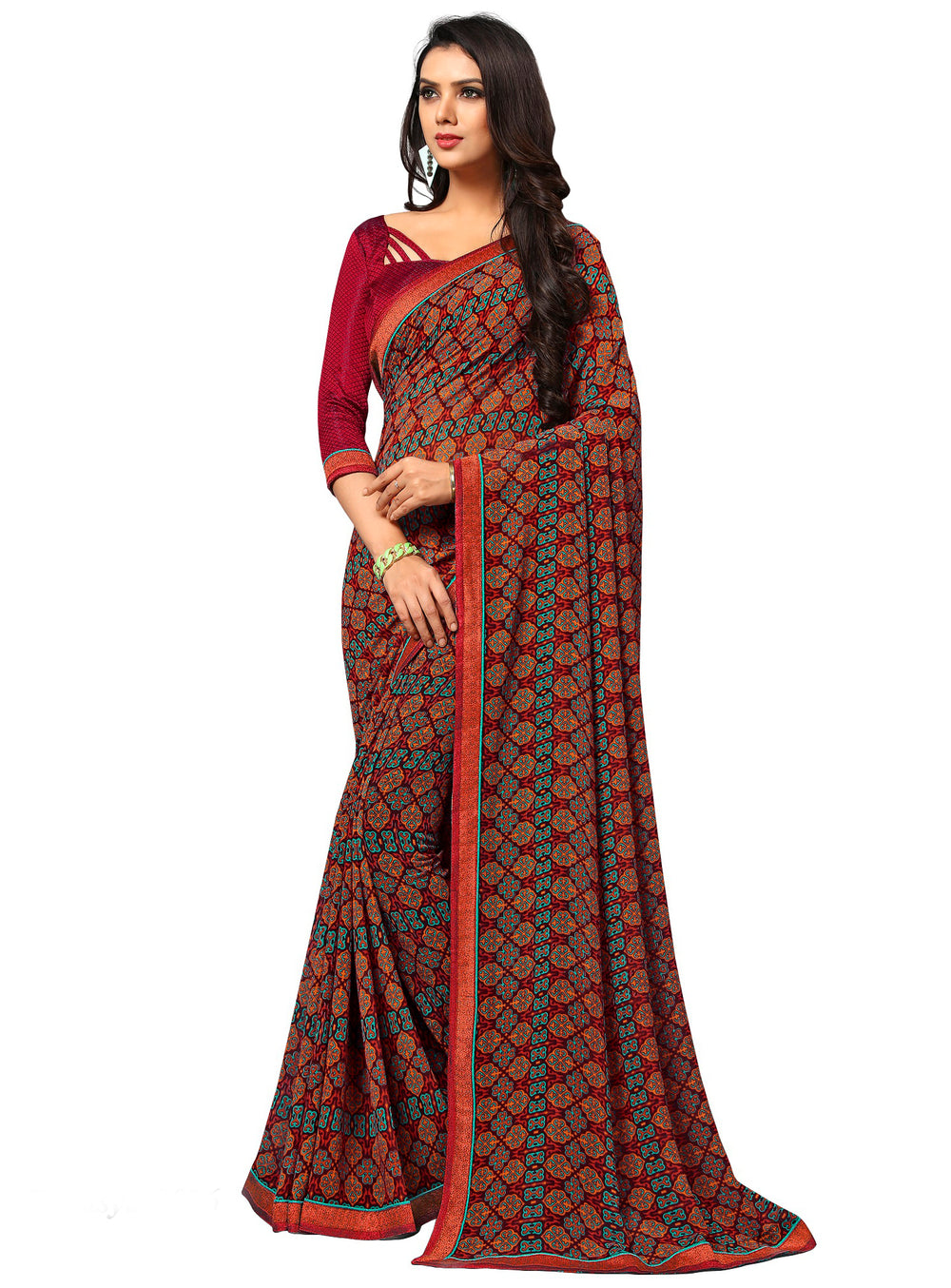 bb4ebb53f2 Roop Kashish Women Multi-Colou Red Party Wear Georgette Printed Saree With  Border And Georgette Blouse Material_RKAM8026 - Buy Roop Kashish Women ...