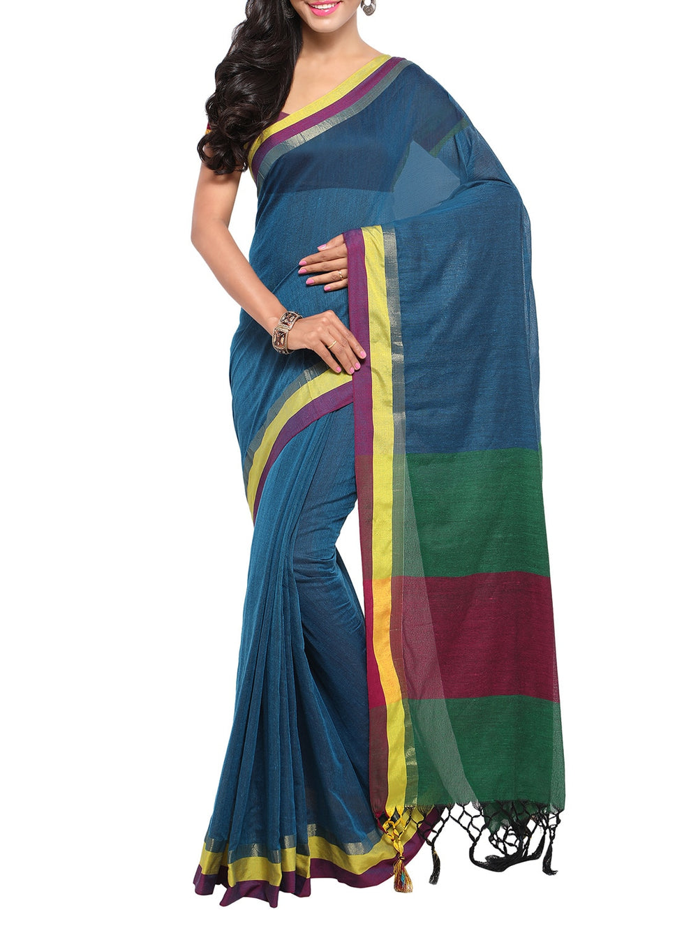 blue handloom saree with blouse