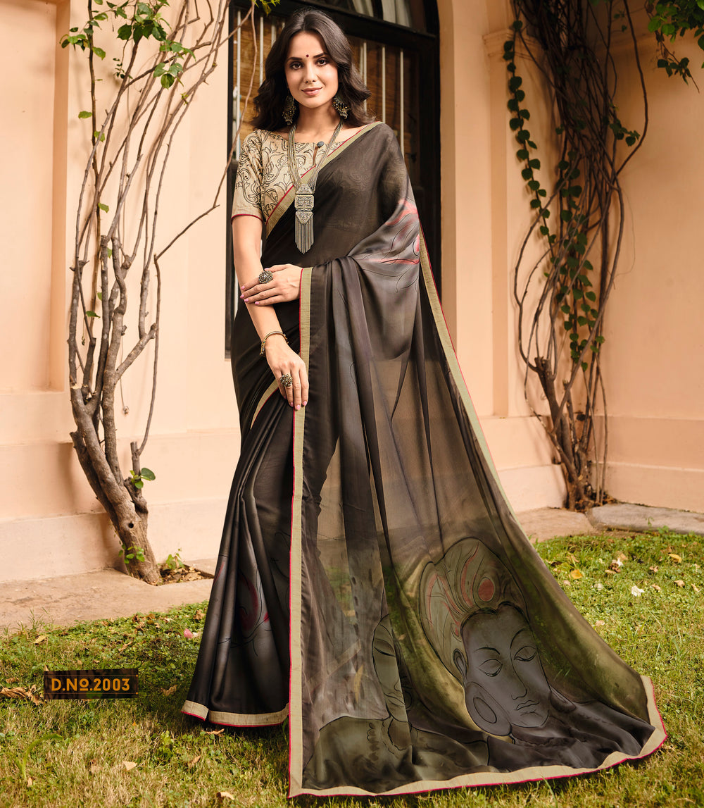 Roop Kashish Women Brown Party Wear Crepe Georgette Saree With Border And Raw Silk Blouse Material_RKPF2003