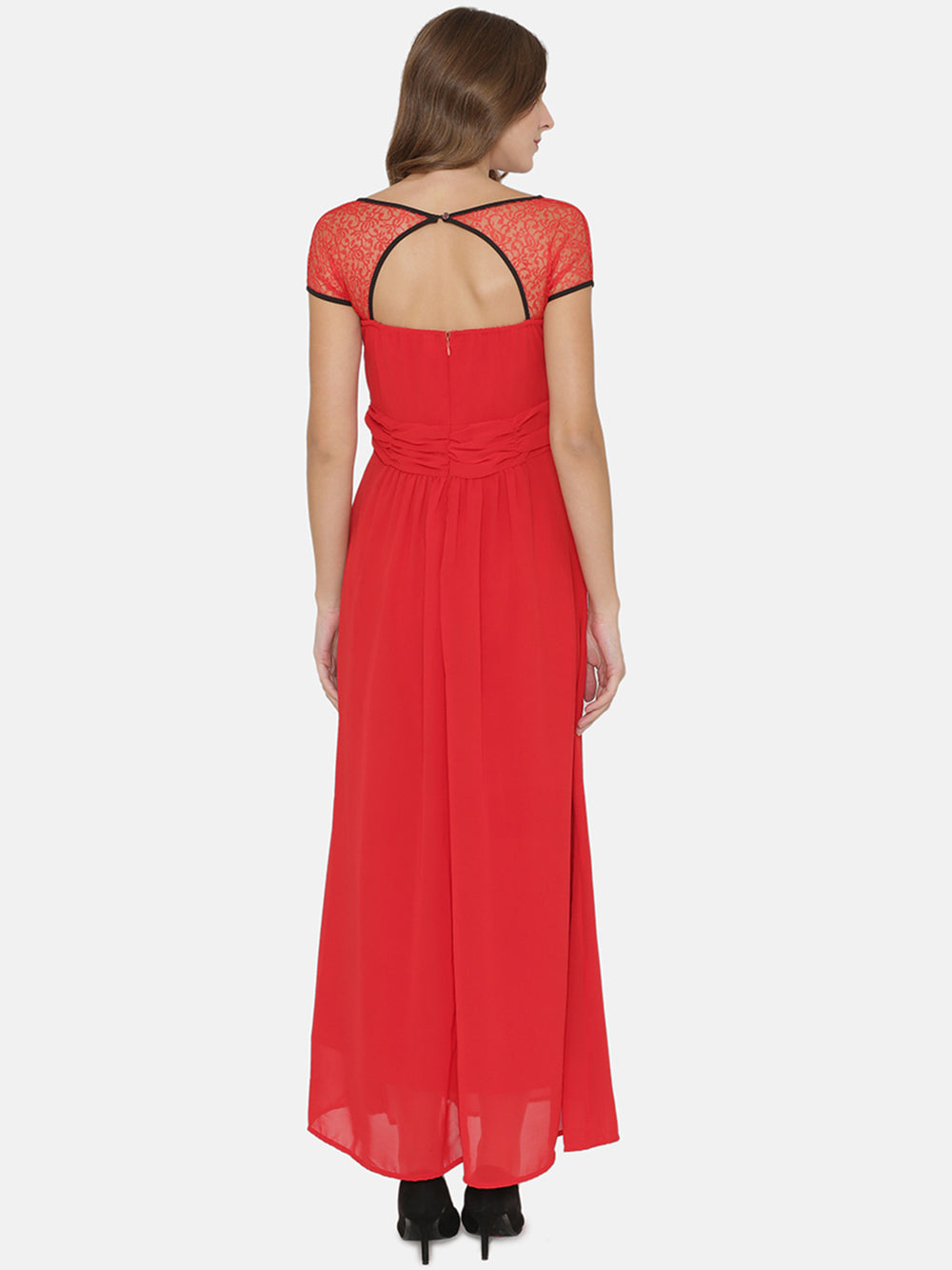 eyelet Women Red Solid Maxi Dress