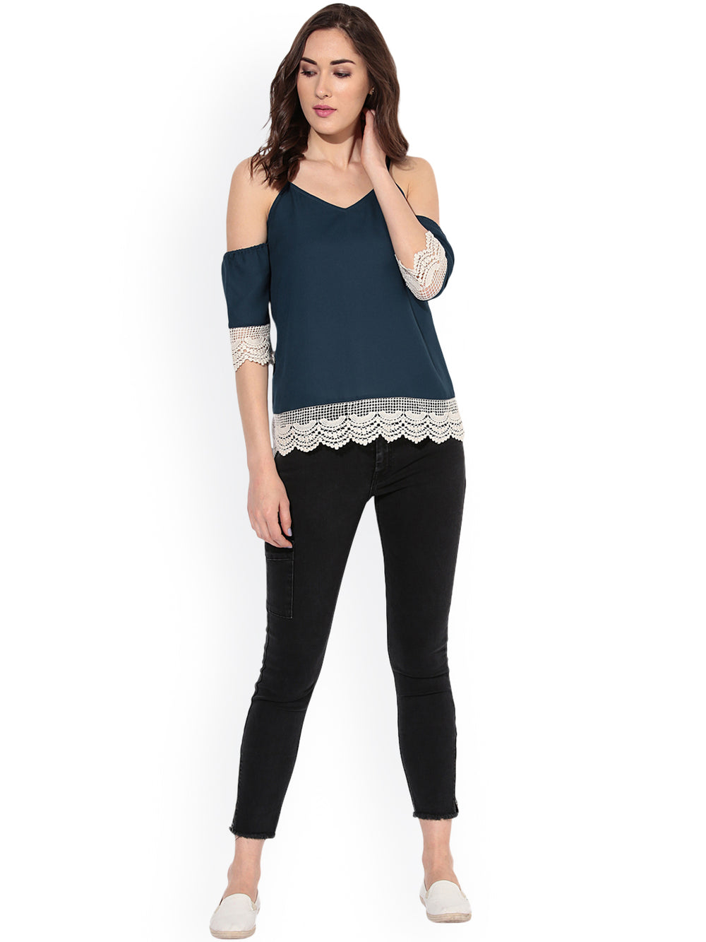 Besiva Women Teal Blue Cold Shoulder Top with Lace Trims