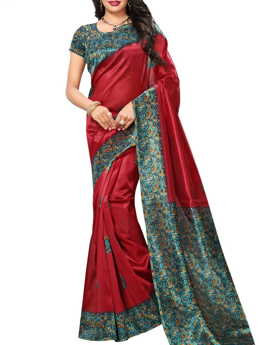 red art silk mysore saree with blouse