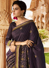 Roop Kashish Women Brown Party Wear Silk Saree With Border And Raw Silk Blouse Material_RKPF5866