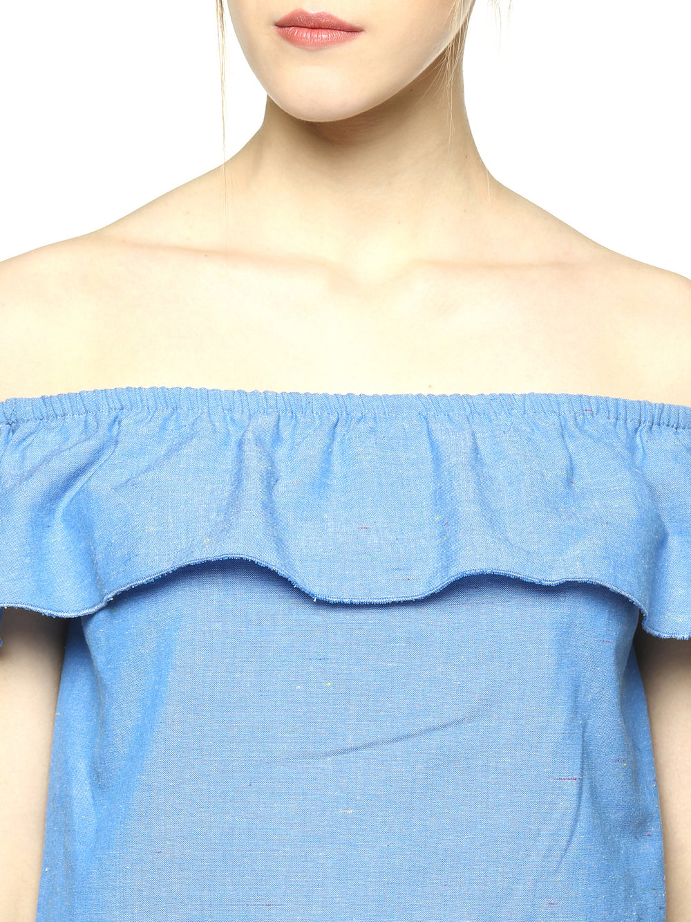 Besiva Women Blue Solid Ruffled Bardot Top