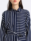 Besiva Women Navy Blue Striped Shirt Dress