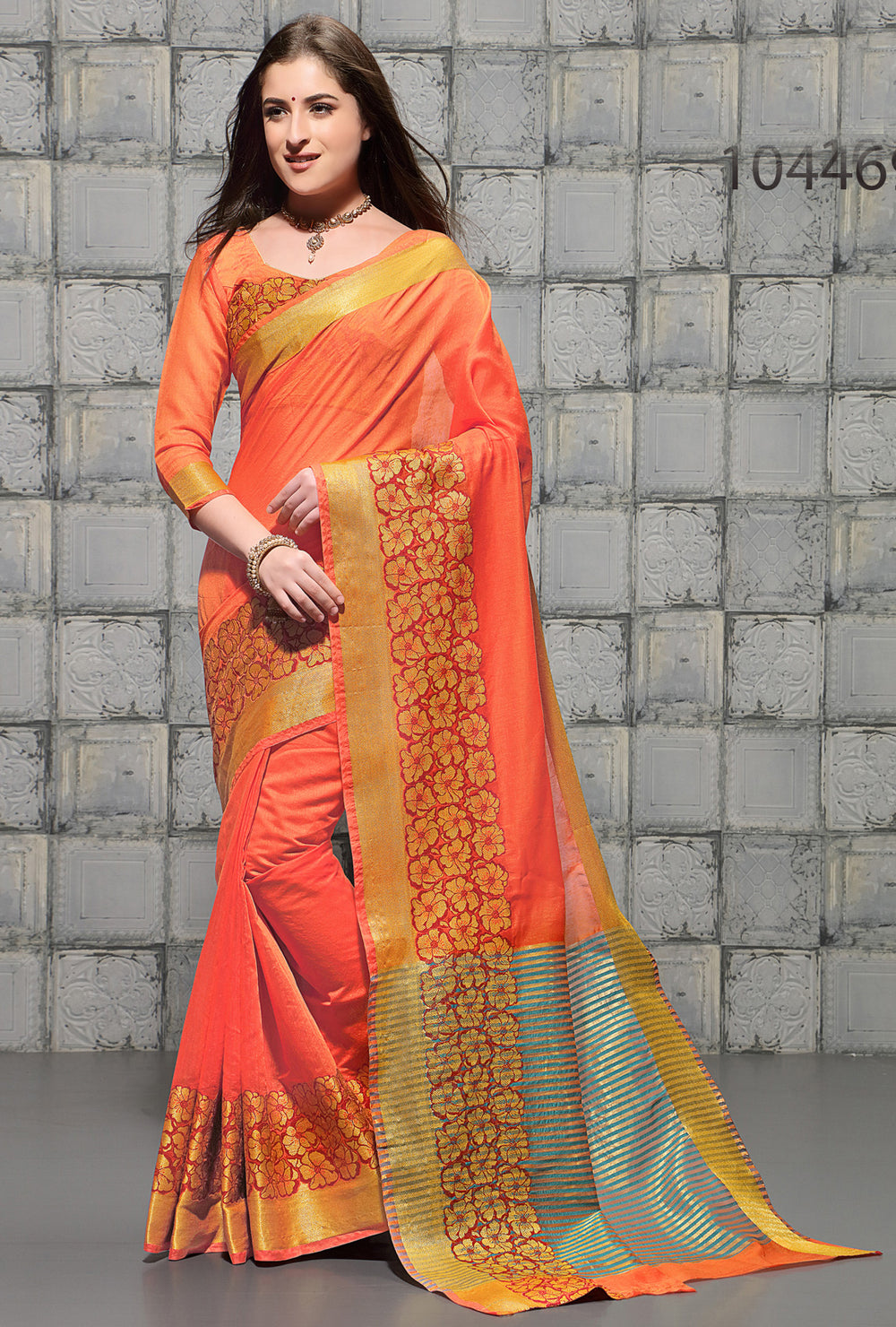 Roop Kashish Women Orange Party Wear woven Cotton Printed Saree And Border And Cotton Blouse Material_RKSCSUNAHARI10446