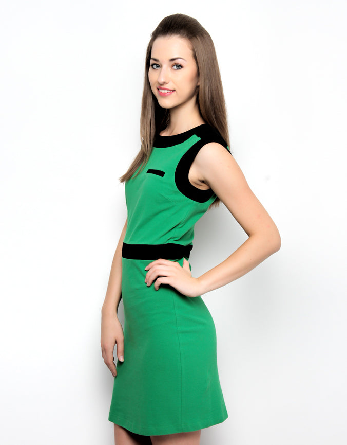 Colour Block Polo Dress Green