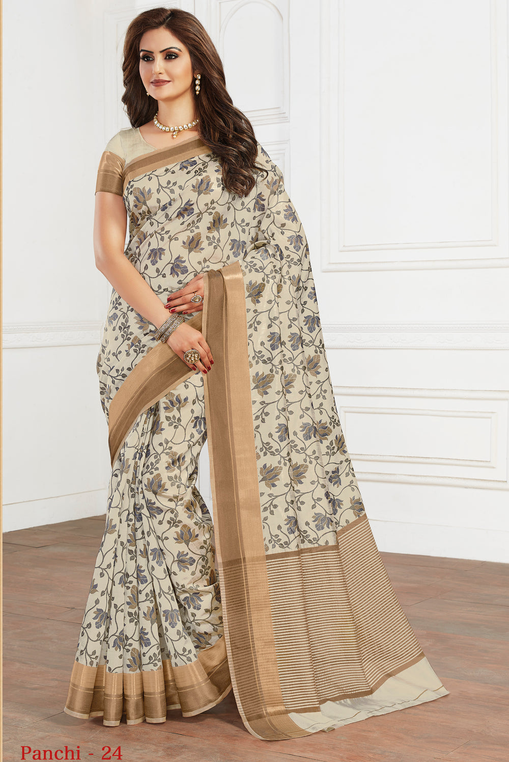 Roop Kashish Women Cream Party Wear Tussar Silk Saree And Tussar Silk Blouse Material._RKRGPAN024
