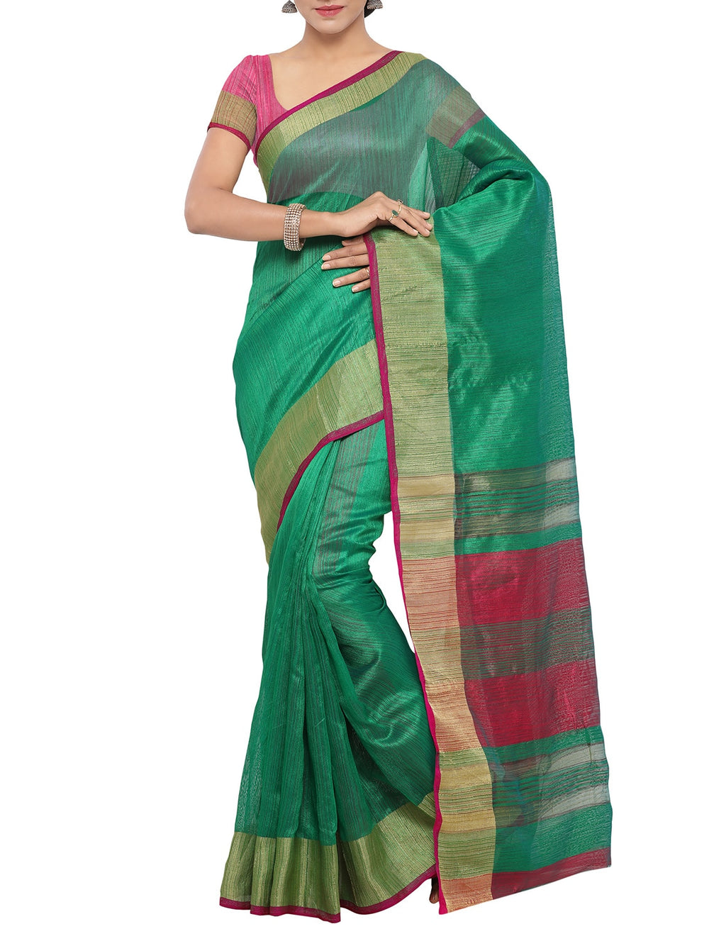 green handloom saree with blouse