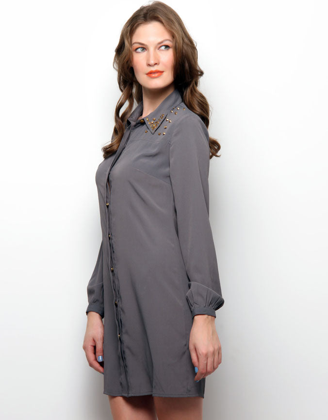 Shirt Dress With Cut-Out Detail Dark Grey
