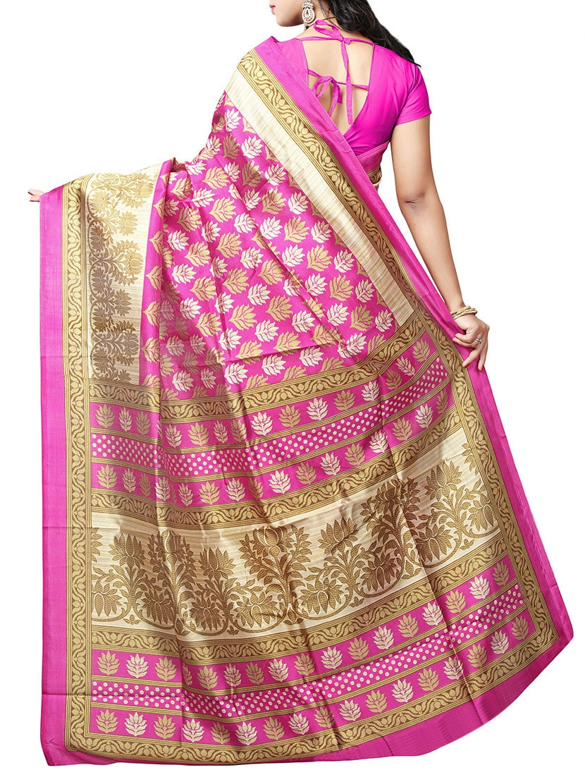 pink art silk bhagalpuri saree with blouse