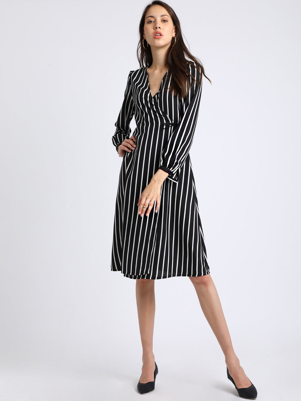 Besiva Women Black Striped Wrap Dress