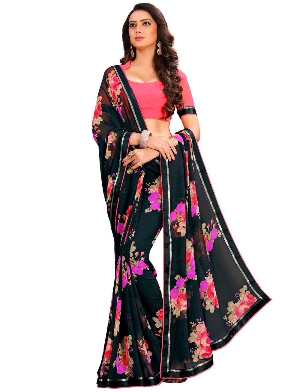 Roop Kashish Women Black Party Wear Georgette Printed Saree With Border And Georgette Blouse Material._RKAM7023