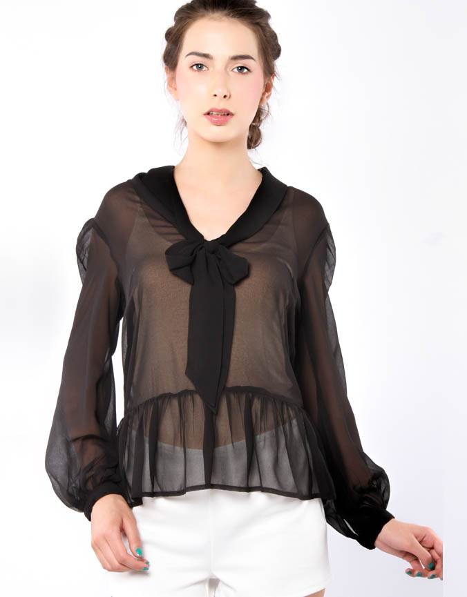 Drop Pussybow And Peplum Top Black