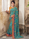 Roop Kashish Women Turquoise Party Wear Georgette Printed Saree With Border And Georgette Blouse Material_RKSCTABASSUM16