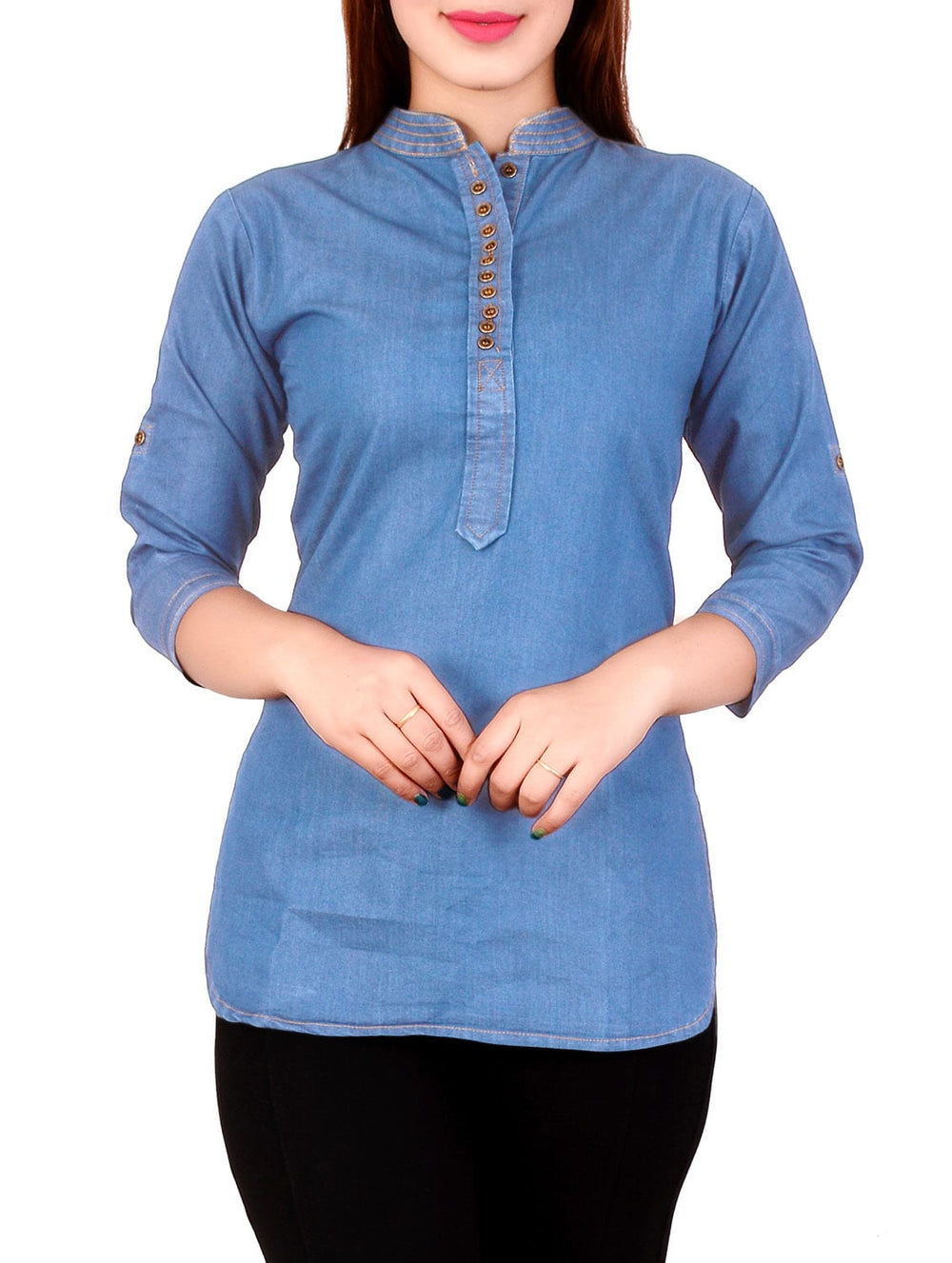 sky blue color  denim straight kurti
