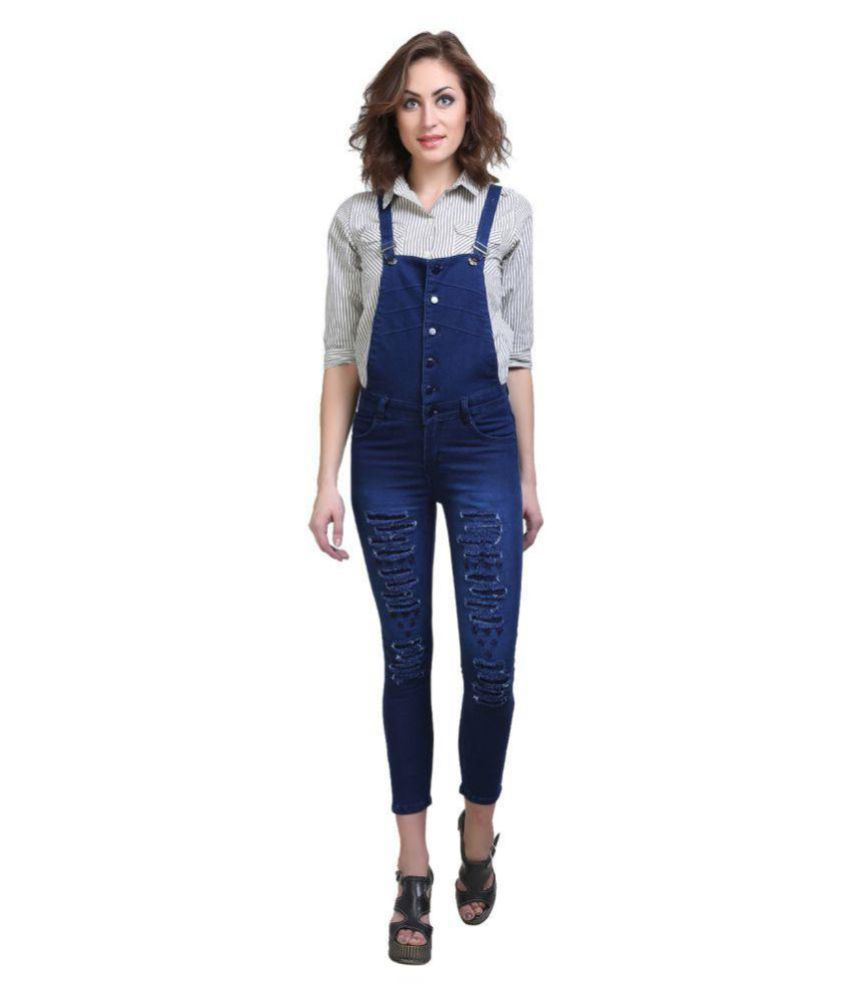Essence Poly Cotton Dungarees - Blue