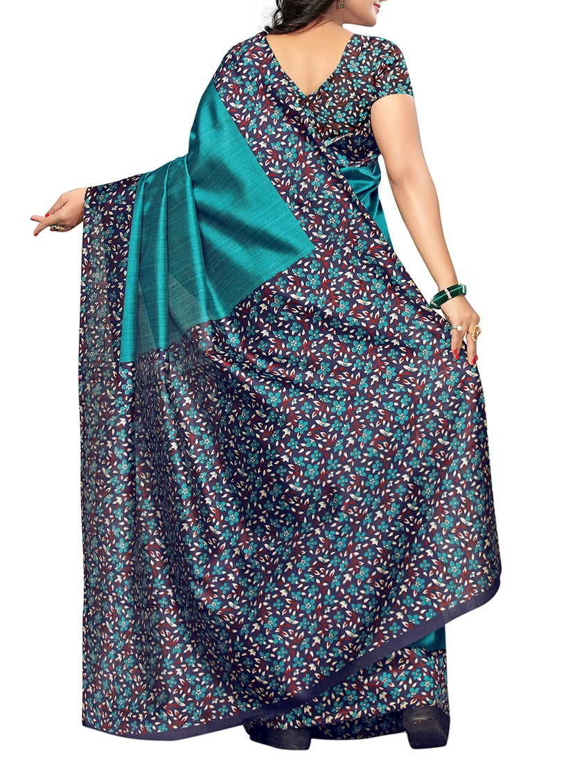 turquoise art silk printed saree with blouse