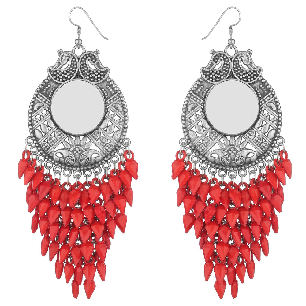 Red & silver-Toned Stone-Studded & Beaded Floral Drop Earrings
