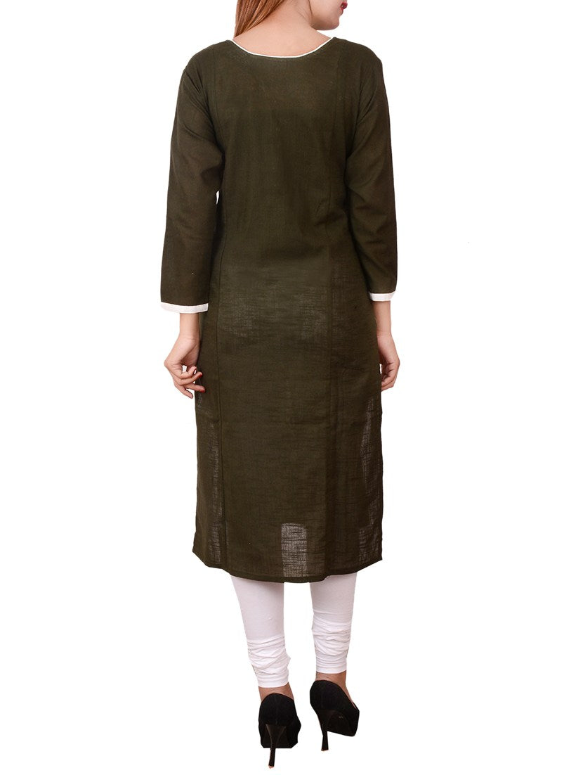 green cotton straight kurta