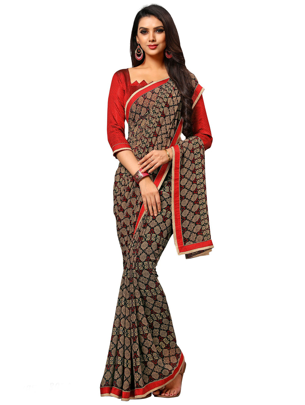 Roop Kashish Women Multi-Colou Red Party Wear Georgette Printed Saree With Border And Georgette Blouse Material_RKAM8025