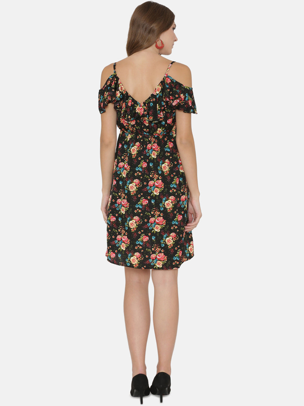 eyelet Women Black Printed Empire Dress