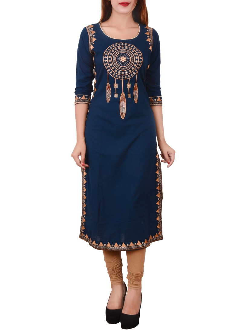 blue cotton embroidered straight kurta