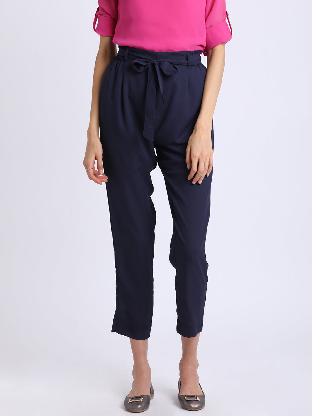 Besiva Women Navy Blue Regular Fit Solid Peg Trousers