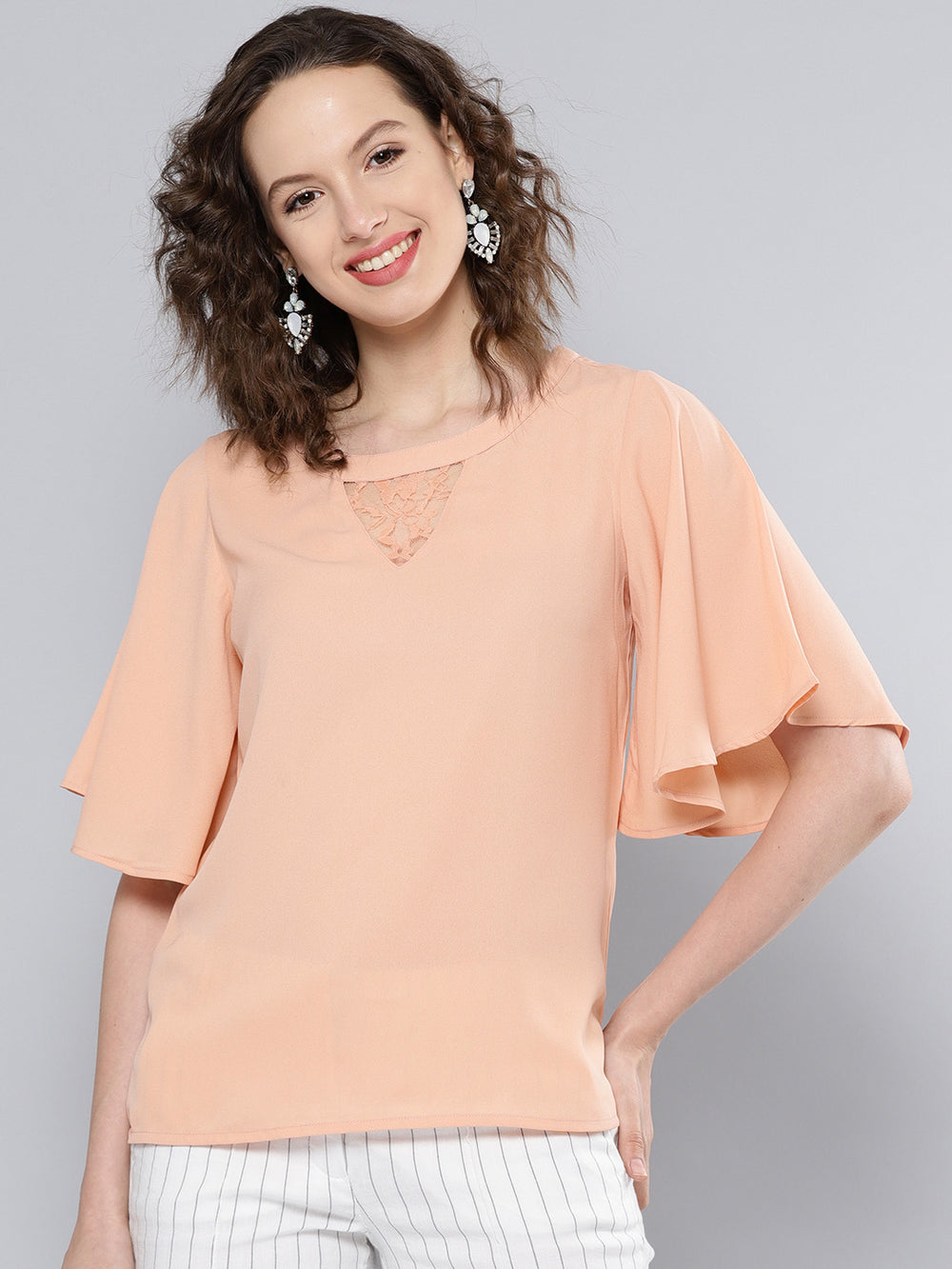 Besiva Women Peach-Coloured Solid Top