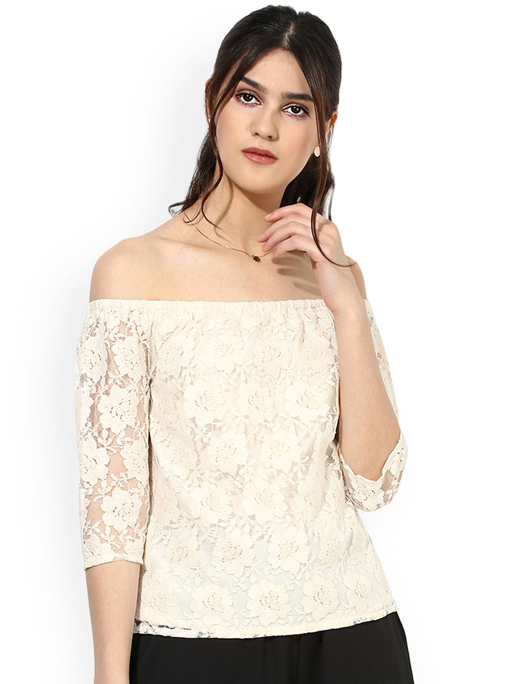 Besiva Women Off-White Lace Bardot Top