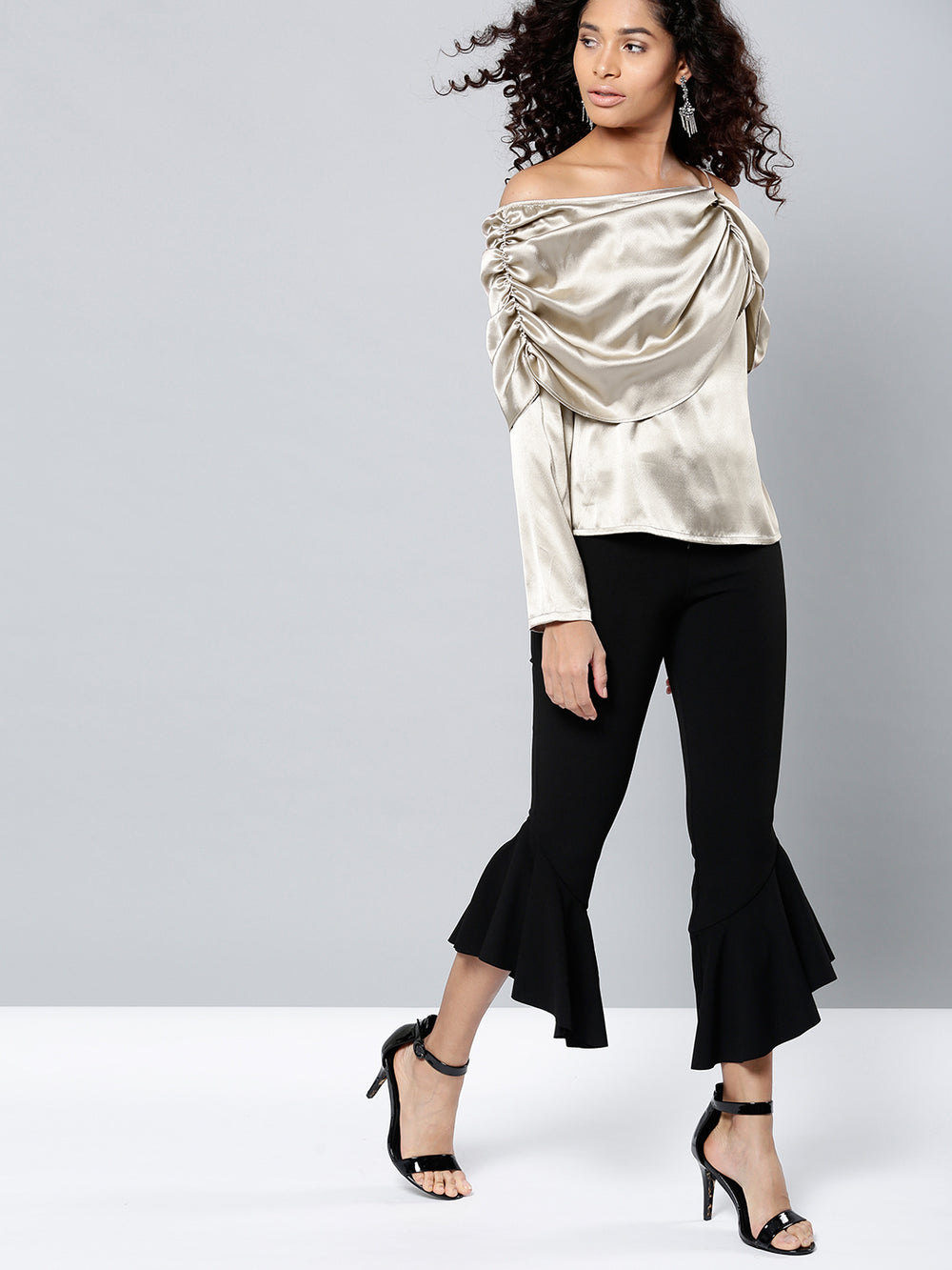 Besiva Women Taupe Solid Bardot Top with Sheen