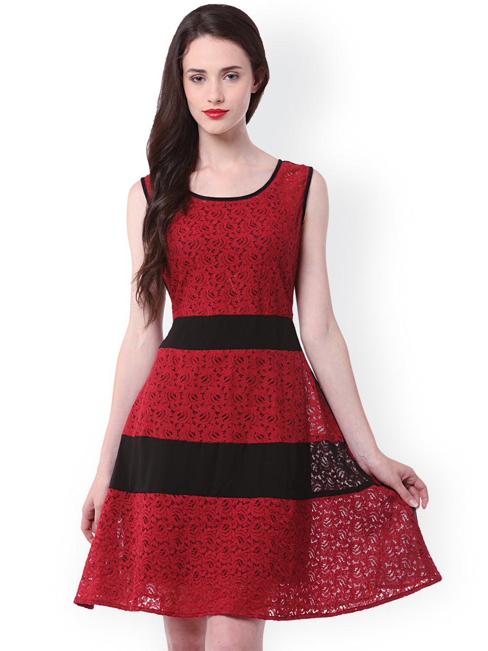 eyelet Red & Black Lace Fit & Flare Dress