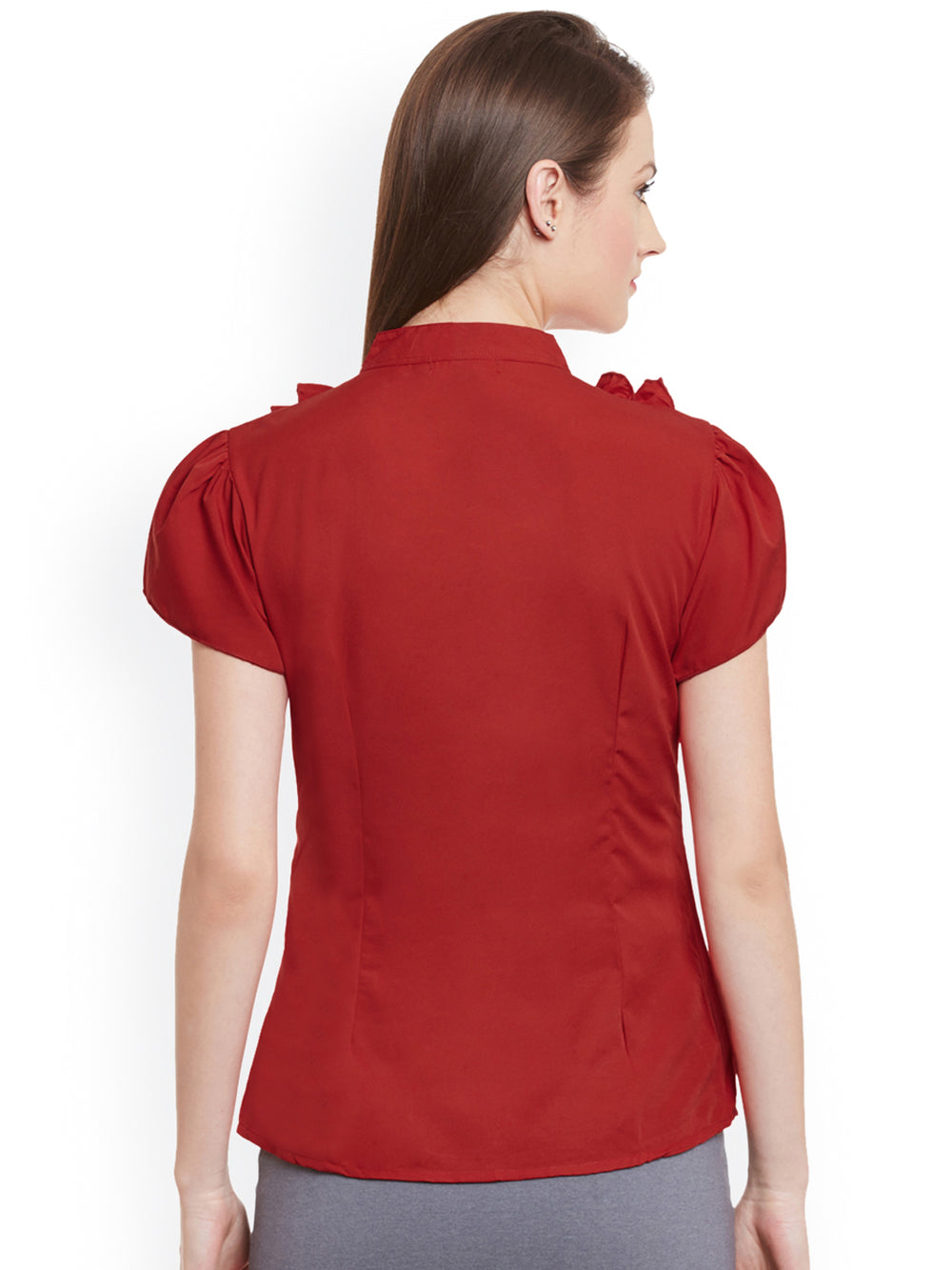 eyelet Women Red Solid Casual Shirt